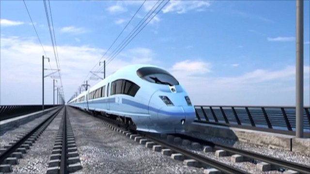 "An artist's impression of a train on the new high-speed ""HS2"" rail route"