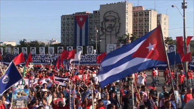 Cuban people rallying