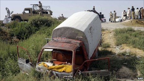 The van which carried victims of the Quetta attack on 30 July