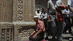 Worshipper in Kashgar, Xinjiang, file pic