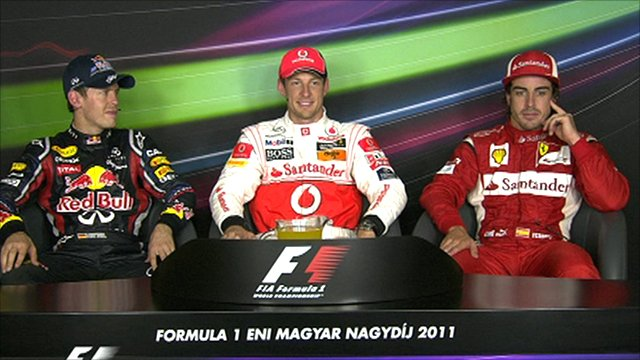 Sebastian Vettel, Jenson Button and Fernando Alonso