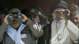Ayatollah Ali Khamenei views military parade, 2005