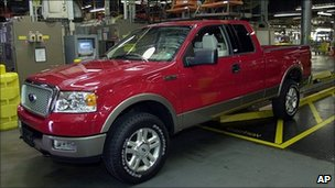 F-150 truck rolls off Ford's assembly line at the Norfolk, Virginia plant, June 2003