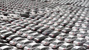 Cars parked at a port in Rio de Janeiro