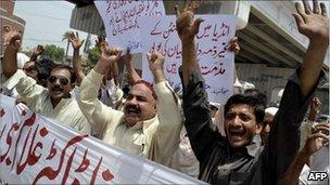 An anti-US protest in Multan on 22 July 2011