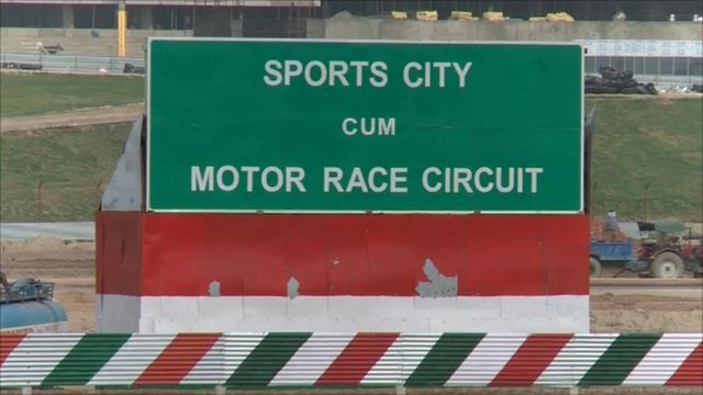 A sign at the site of the Indian F1 Grand Prix which is still under construction