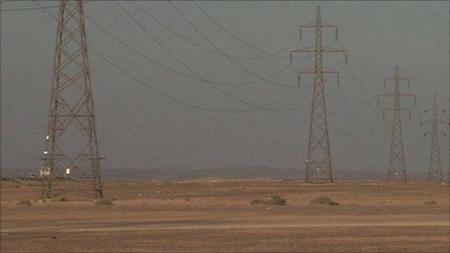 Pylons in the desert