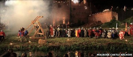 A re-enactment of the siege of Malbork Castle