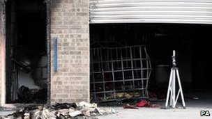 Scene of blast at illegal distillery in  Boston, Lincolnshire