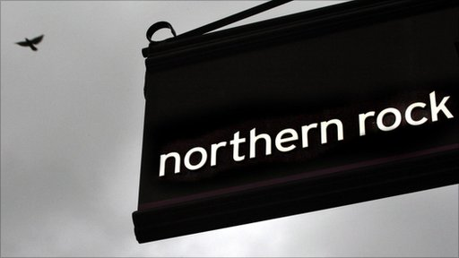 Northern Rock sign against dark sky