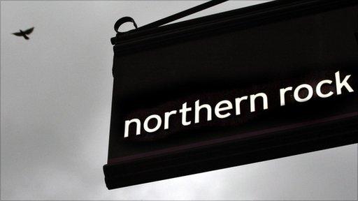Northern Rock sign against dark sky