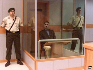 Kurdish rebel leader Abdullah Ocalan on trial in 1999