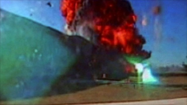 Footage showing American 77 crashing into the Pentagon