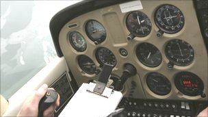 Controls in plane cockpit