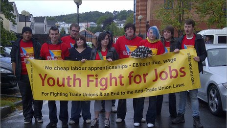 Protesters on the Youth Fight For Jobs march