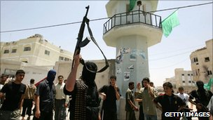 Hamas gunmen in Gaza City, June 2007