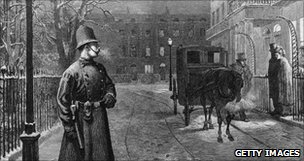 Policeman on duty in Victorian London