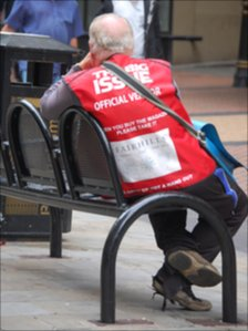 Big Issue seller in Birmingham