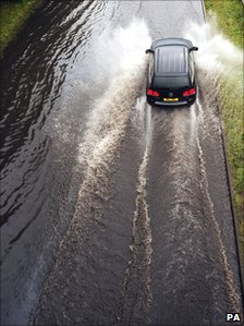 Flooding on the A1058 Coast Road to Tynemouth
