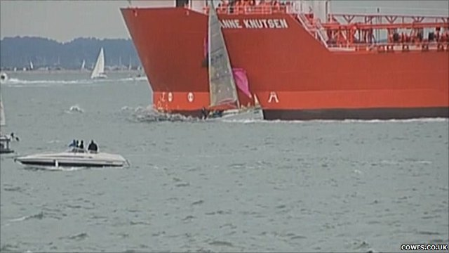 Yacht and an oil tanker collide