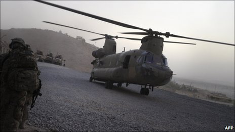 US military Chinook in southern Afghanistan - 29 July 2011