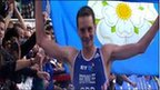 Alistair Brownlee celebrates winning the Hyde Park triathlon