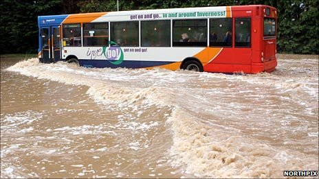 Bus in flood water. Pic: Northpix