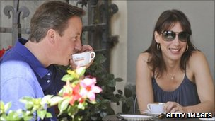 David and Samantha Cameron at an Italian cafe