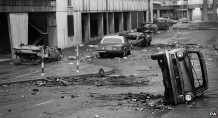 The aftermath of the Broadwater Farm riots in Tottenham in 1985