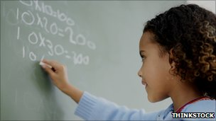 Girl writing sums on blackboard