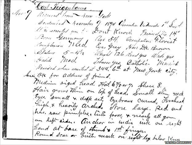 Prison record describing Feigenbaum (photo courtesy Trevor Marriott)