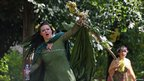 Witch Esme Knight cries out during Nottingham&#039;s Pagan Pride 2011