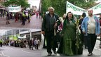 Three pictures of the Pagan Pride parade through Nottingham on 7 August 2011