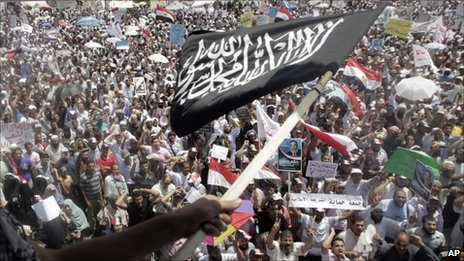 Protest by Islamist groups at Tahrir Square in Cairo on 29 July