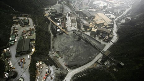 An aerial view shows the site of the Grasberg Mine, operated by the US-based Freeport McMoRan Copper Gold in Indonesia's Papua province in this November 4, 2010 file photo