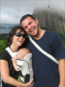 Mariana and Thiago with Sugarloaf Mountain in background