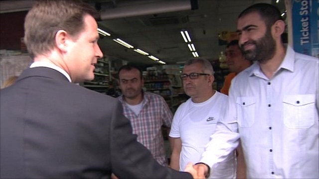 Nick Clegg meets shopkeepers in Tottenham