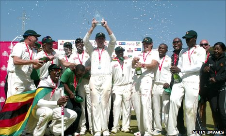 Zimbabwe celebrate winning their only Test against Bangladesh