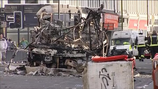 remains of the bus that was set alight in Tottenham