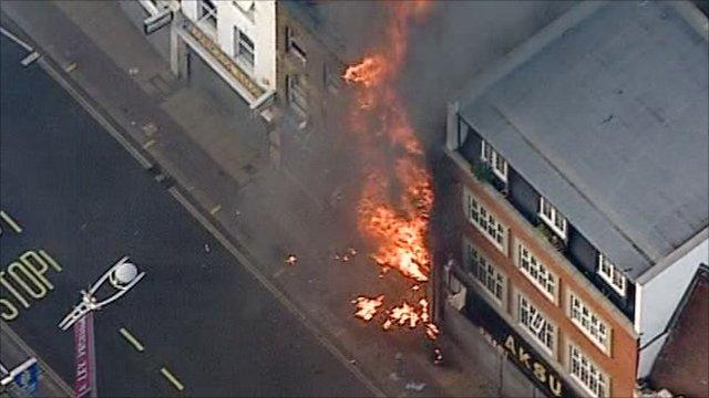 Peckham shops on fire