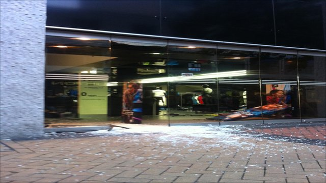 Adidas store damaged in Birmingham's New Street