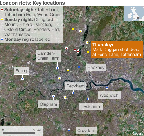 Map of London riots