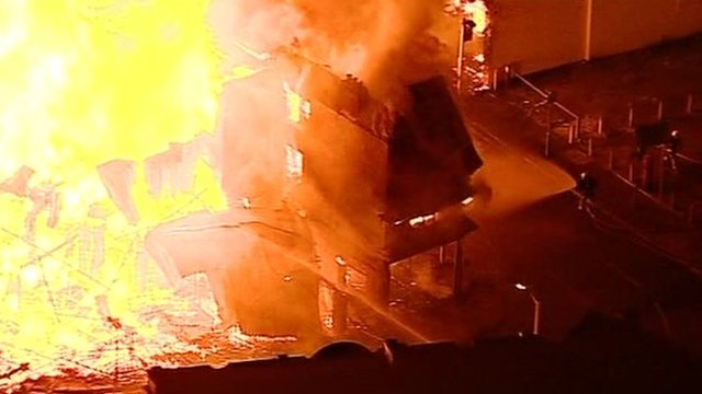 London riots: Croydon furniture store ablaze