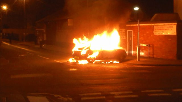Car on fire in Wilder Street, St Pauls, Bristol