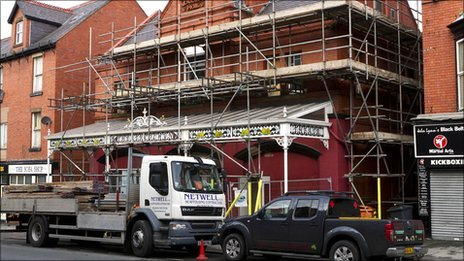 Theatr Colwyn in Colwyn Bay when it was being refurbished