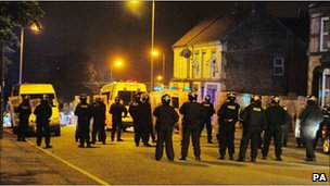 Police officers in Toxteth overnight