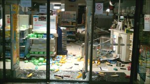 One ransacked shop in the city centre