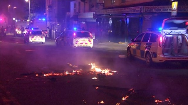 Burning streets in Birmingham