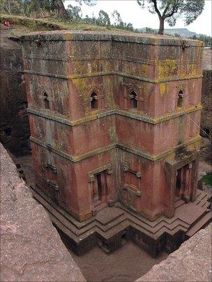 Rock-hewn church in Lalibela, Ethiopia