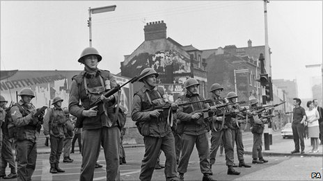 British soldiers in Belfast in 1969 during rioting